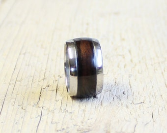 Wood Ring,  Wood Ring for Men, Zirocote Wood and Stainless Steel Ring
