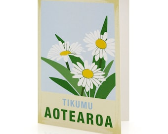 Tikumu illustration. A6 greeting card with envelope – New Zealand native flower series.