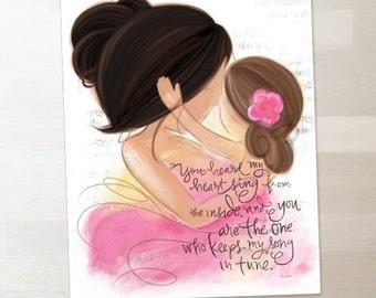 Mother and Daughter - Dark and Medium Brunette Hair - Nursery Wall Art Print Gift