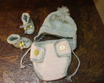 Newborn blue and yellow diaper cover set with booties and beanie