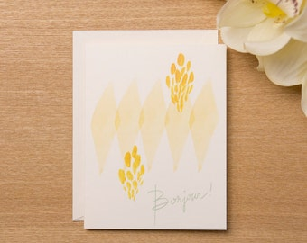 Set of 4 - Bonjour Greeting Card - Watercolour