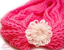 Knitted Infinity Scarf w/ Attached Flower Cuff – Pretty 'N Pink, Super Soft, Plush, Cuddly, Lightweight, Spring Scarf, Spring Fashion