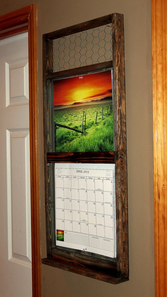 Calendar Wood Holder : Rustic reclaimed calendar holder