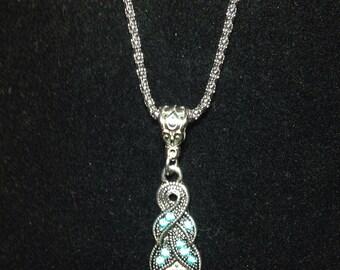 Turquoise And Rhinestone Pendant