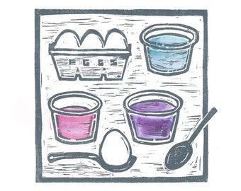Easter Egg Dyeing - Archival digital print of my hand-colored linocut print