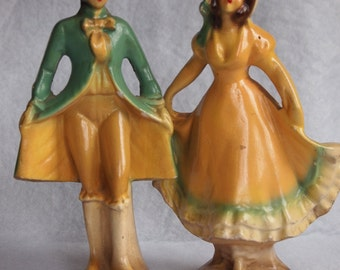 REDUCED- Two Vintage Colonial Dancer Chalkware Figures