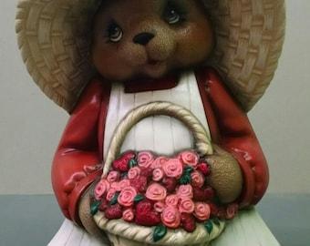 Valentine's Girl Bear--Heirloom Quality--Hand-painted Ceramic--Holiday Figurine Decor--Seasonal Figurine Decor--Home Decor--Patio Decor