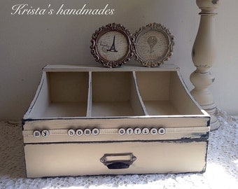 Vintage style beige painted desk organizer with drawer