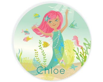 Kids PLATE - Personalized Mermaid Dish for girls, custom dish Under The Sea