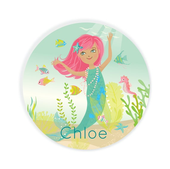Kids PLATE - Personalized Mermaid Dish for girls