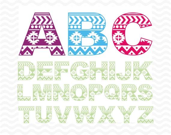Aztec Alphabet Monogram font, SVG, DXF, EPS, Studio 3 formats, vinyl ...