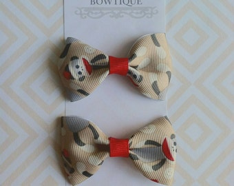 Baby Girl Hair Clips Clippies - Toddler Hair Clips -  Tuxedo Hair Bow Clip - Sock Monkey hair bow clips - Khaki Natural Hair bow