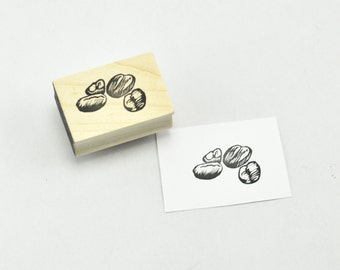 Coffee Beans Rubber Stamp, Hand Carved Stamp