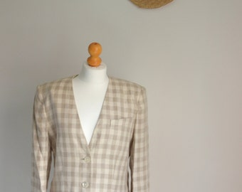 Jaeger Cream and Beige Chequered Tailoured Blazer