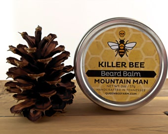 Beard Balm - MOUNTAIN MAN - Beard Salve - Guy Gift - Beard Cream - Beard Conditioner - Rugged Manly Woodsy Scent - Tame Your Beard Beast