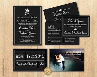 Wedding Invitation Set, Royal Invitation, Crown Invitation, Black and White Invitation, RSVP, Save The Date,Thank You, Printable DIY Invite
