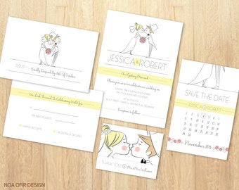 Wedding Invitation Set, Bride and Groom Invitation, Cartoon Invitation, Printable DIY Wedding Invitation, RSVP, Save The Date,Thank You Card