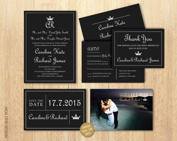 Royal Wedding Invitation Wording: Wedding Invitation Set Royal Invitation Crown Invitation