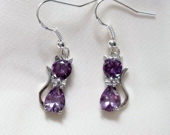 Cat Earrings - Crystal Cat Earrings - Amethyst Crystal Cat Earrings - Also available in Blue, Black, Red, Pink, Silver, Champagne