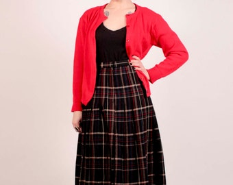 Preppy Plaid 70's Wool Pleated School Girl Skirt By Evan-Picone/ Size 10