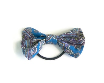 Blue Paisley Patterned Hair Bow | ponytail holder | hairbow | hairbows | hair accessories | hair tie | hairband