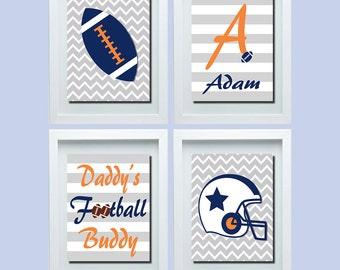 Daddy's Football Buddy, Cute Football Decor, Cute Sports Nursery Decor, Football Nursery Wall Art, Sports Nursery Art, Navy Orange Gray
