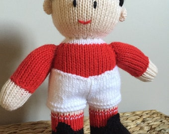 Jean Greenhowe - Football - Soccer - Knitted Footballer - Knitted Toy - Knitted Doll