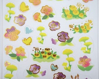 Japanese flower and butterfly yuzen paper stickers - purple flowers and butterflies - gorgeous chiyogami paper stickers