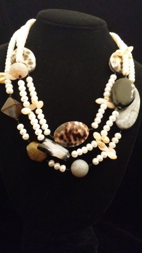 3 Strand Semi Precious Stone Necklace Made with Shell, Jasper, Crystal, Freshwater Pearl, Onyx