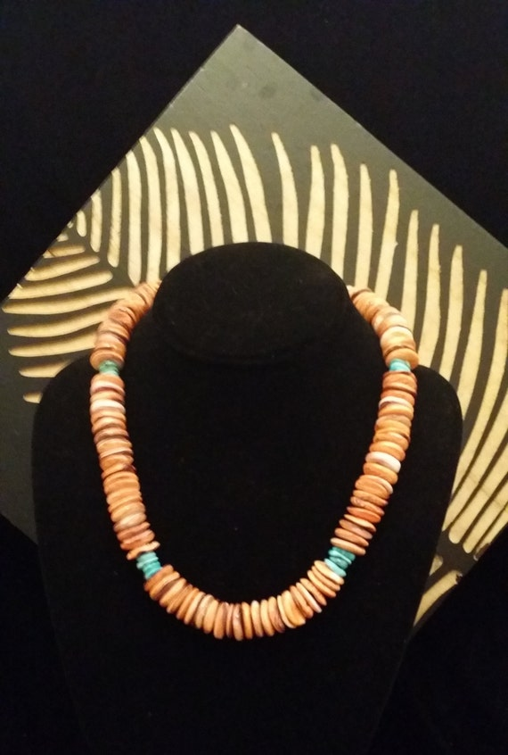 GORGEOUS! Genuine/Natural Turquoise and Orange Spiny Oyster Flat Bead Necklace