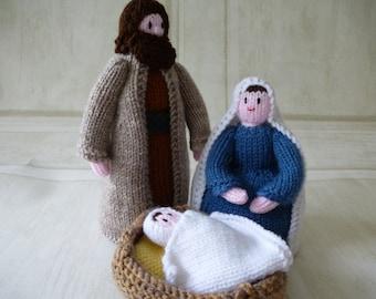 4 piece hand knitted Nativity scene