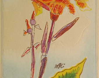 "Ukiyoe, Original Sōsaku-hanga, Woodblock print, antique, Tobei Kamei, ""Canna"""