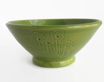 Unique Bowl, Soup Bowl, Green Bowl, Ceramic Bowl with Unique carved designs - Cereal Bowl, Green Bowl, Green Cereal Bowl, Bowl, Chili Bowl