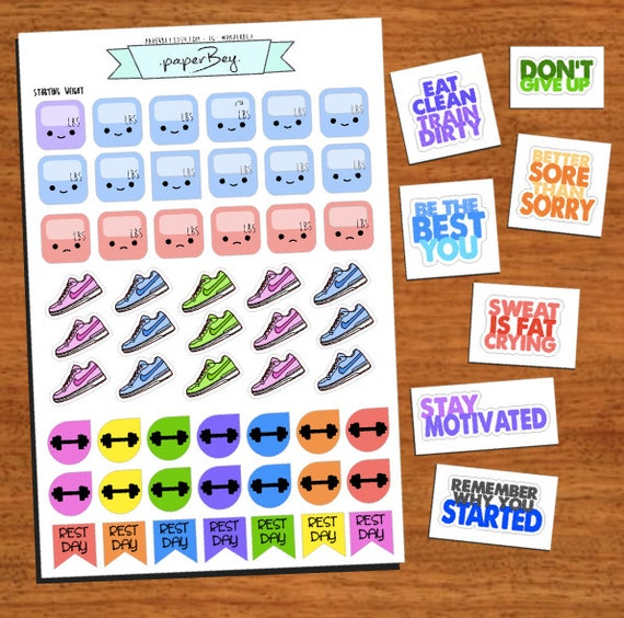 54pc Set of Workout Planner Stickers