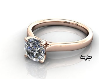 14 kt. Rose Gold  Solitaire.88 Carat Round Forever Brilliant Cut Moissanite Engagement Ring #6734