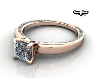 14 kt. Rose Gold .71 Carat  Solitaire Princess Brilliant Cut Moissanite with Accent Diamonds Engagement Ring #6780