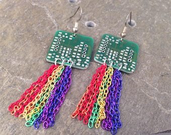 Reclaimed Upcycled Computer Parts, Rainbow Nyan Cat Meme Inspired Recycled Circuit Board Dangle Drop Earrings with Chain Fringe