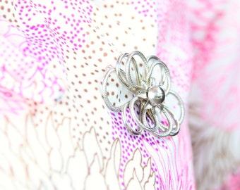 1960s Vintage Silver Flower Brooch