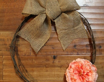 Barbed Wire Wreath Burlap Bow Rustic Wreath