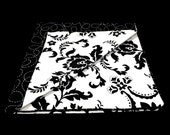 Black and White Double Sided Pocket Square Paisley and Stich