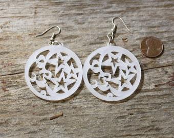 White lucite moon and stars earrings- mom gift, teacher gift, modern jewelry, white earrings, lucite earrings, laser cut lucite