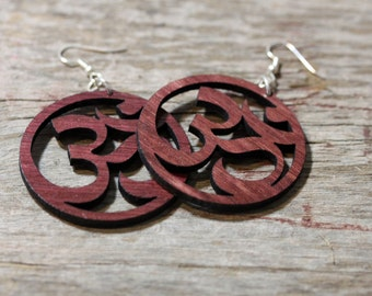 Big Om Yoga Wood Cut Earrings - light weight, surgical steel ear wires, yogie gift, birthday gift, yoga jewelry, yoga earrings, laser cut