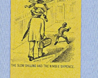 Early Trade Card, Sales and Profits, Business Advice, Shilling and Sixpence, Yellow Illustration