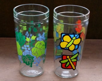 ANCHOR HOCKING TUMBLERS Set of 2, 1-Grapes Leaves Green Purple 1-Butterfly Dragonfly Orange Blue Yellow