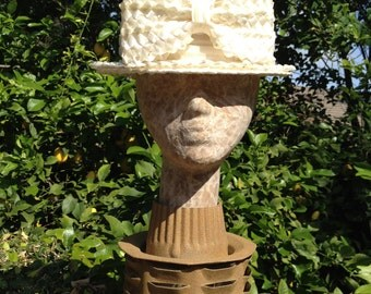 White Cellophane Straw Boater With Bow and Gathered Band Vintage