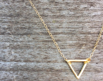 Tiny Open Triangle Necklace -Gold Necklace -Modern Necklace- Gold Triangle Necklace - Gold Necklace - Simple Necklace - Minimalist Necklace