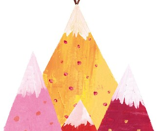 The deer in the mountain Print