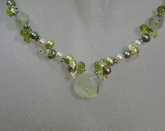 Green Tourmalinated Quartz Cluster Necklace with Sterling Silver, Peridot, Pearls, Citrine