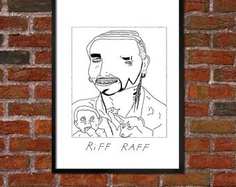 Badly Drawn RiFF RAFF - Hip Hop Poster