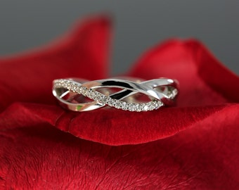 White Gold Diamond Eternity Wedding Band, Fashion Band (available in rose gold, yellow gold, platinum and with other gems)